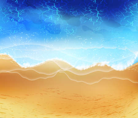 Sandy ocean shore. Vector illustration of coast with yellow sand,turquoise water and tropical seaside.Concept of exotic vacation.