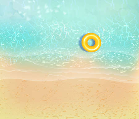 Summer sea beach top view with waves and sea foam. Sandy ocean shore with rocks. Vector illustration of coast with yellow sand and tropical seaside.Concept of exotic vacation.