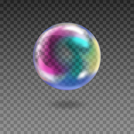Transparent rainbow soap bubbles on checkered background.