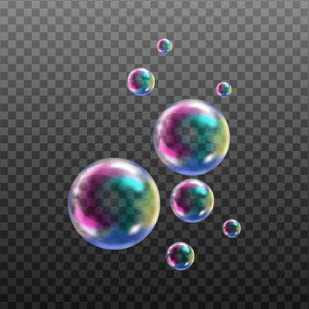 Realistic transparent soap bubbles with rainbow reflection isolated design elements. Ilustrace