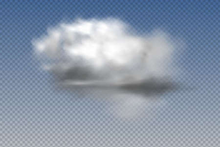 Set of realistic isolated and transparent clouds,fog or smoke on a blue background.