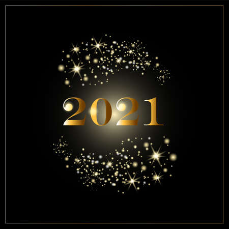 Vector illustration of golden 2021 logo numbers, stars, and firework on a black background.