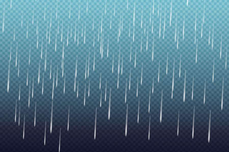Vector illustration of cool single weather with cloud and heavy fall rain.