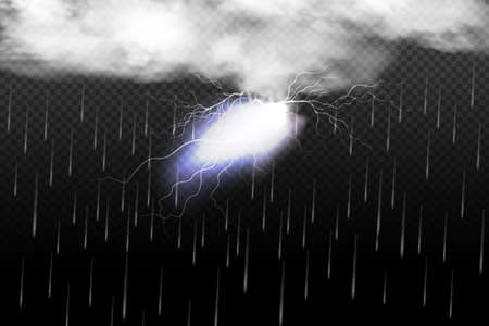 Sparkling lightning on black background.Bright lighting effects Ilustrace