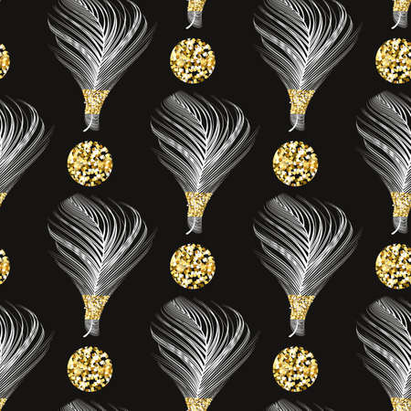 Repeating texture. Boho style.Seamless pattern with feathers.