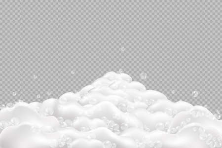 Bath foam isolated on transparent background.Sparkling shampoo and bath lather vector illustration.