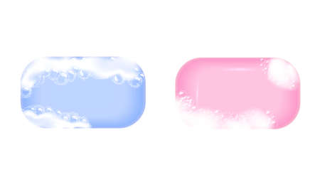 Bar of blue soap in foam and bubbles on a white background. Çizim