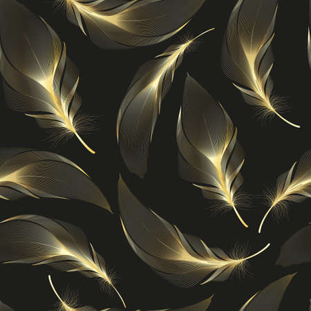 Seamless pattern with gold feathers of bird. Repeating texture. Boho style.