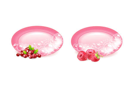 Bar of soap and berries in foam and bubbles on a white background.Realistic vector illustration.Shampoo bubbles texture. Иллюстрация