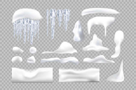 Set of snowy elements, icicles and caps on winter background. Winter seasonal decorations. Vector template in realistic style. Фото со стока