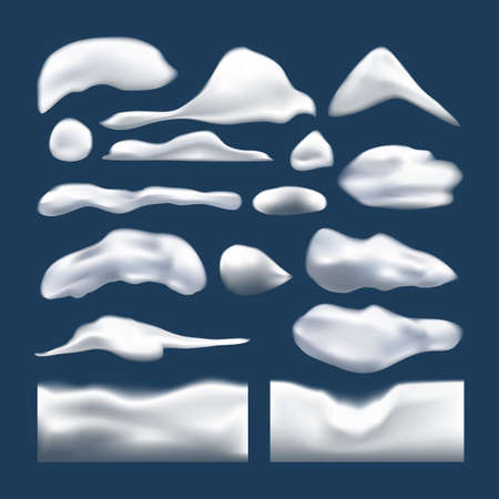 Set of snowy elements, icicles and caps on winter background. Winter seasonal decorations. Vector template in realistic style. Иллюстрация