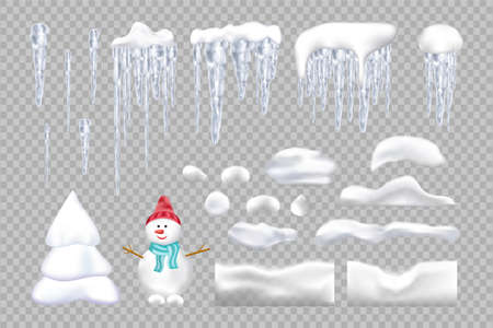 Set of snowy elements, icicles, caps, snowman and Christmas tree. Winter seasonal decorations. Vector template in realistic style.
