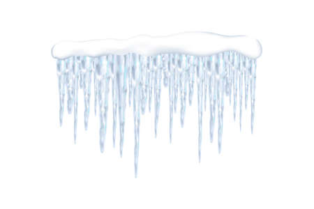 Set of snowy elements, icicles and caps on winter background. Winter seasonal decorations. Vector template in realistic style.