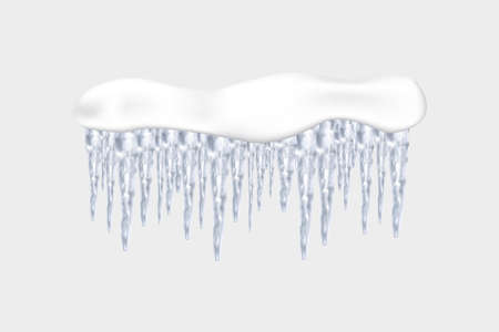 Set of snowy elements, icicles and caps on winter background. Winter seasonal decorations. Vector template in realistic style. Çizim