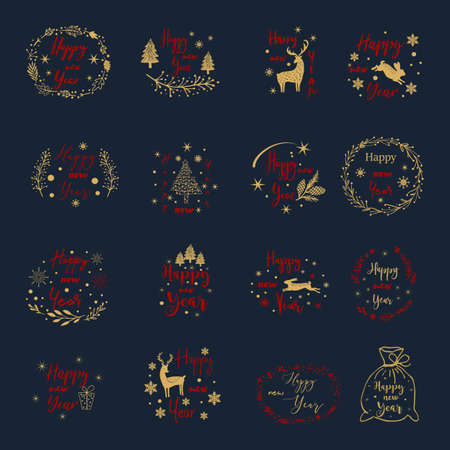 Vintage Merry Christmas and Happy New Year calligraphic and typographic background. Иллюстрация