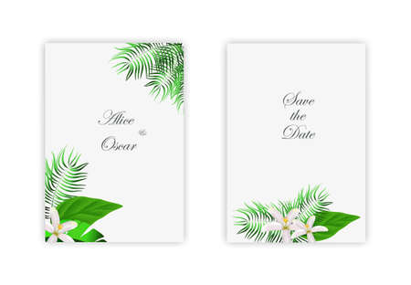 Trendy abstract square art templates of flowers and green leaves. Иллюстрация