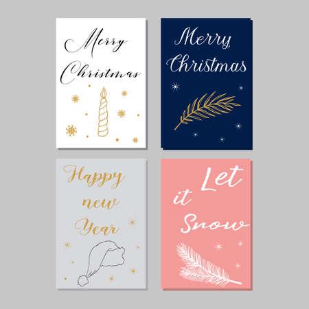 Merry Christmas greeting card .Vector illustration.