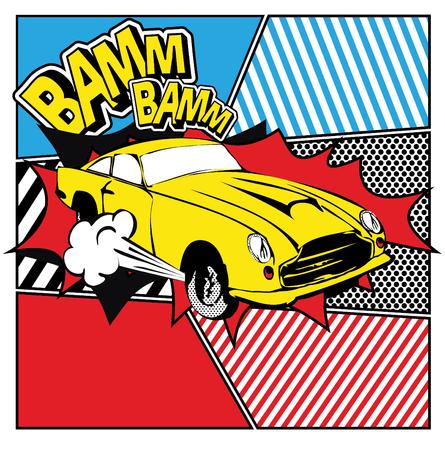 Pop art yellow car