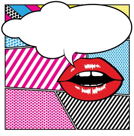 girl mouth: Pop art lips - bubble