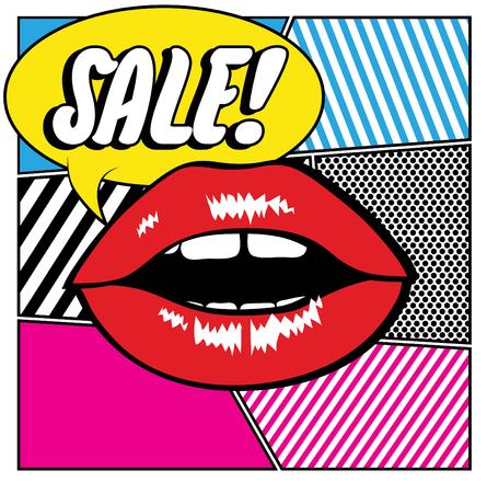 hot lips: Pop art lips - Sale Illustration