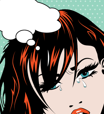 beautiful crying woman: Pop art crying girl