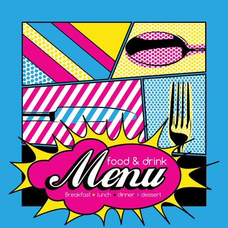 food art: Restaurant Pop Art Menu Design - Food  Drink Illustration