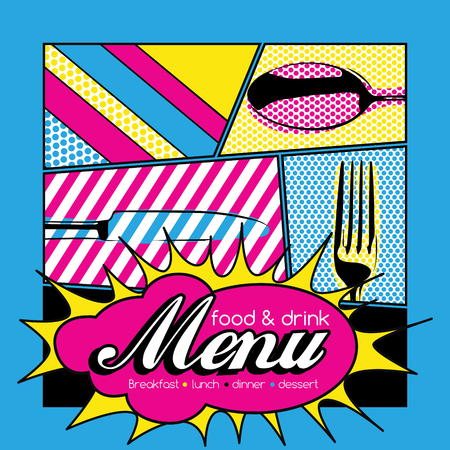 Restaurant Pop Art Menu Design - Food  Drink Illustration