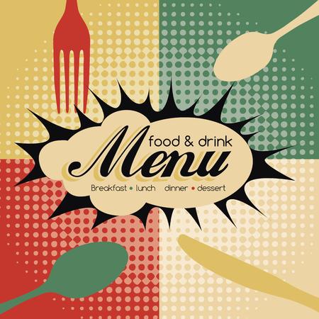 food and drink: Restaurant Pop Art Menu Design - Food  Drink Illustration
