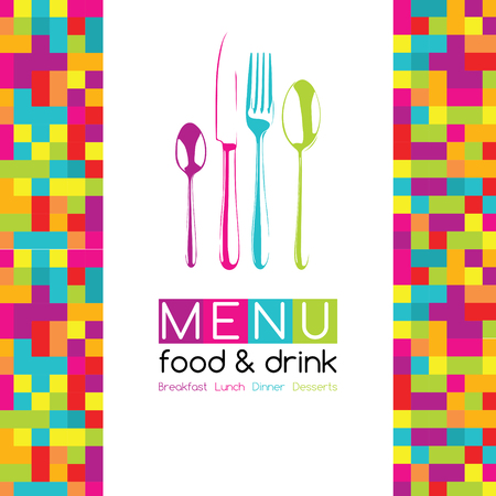 restaurant eating: Restaurant Pop Art Pixel Menu Design - Food  Drink