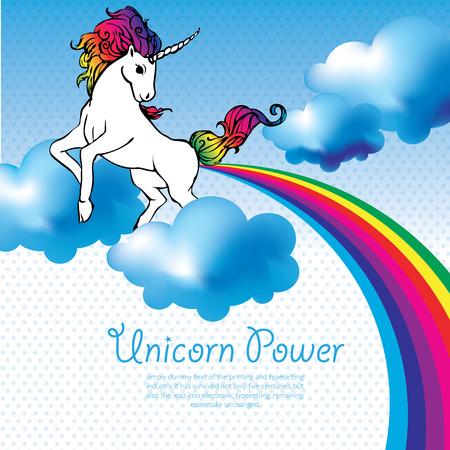 mosca caricatura: Unicornio con un arco iris en el cielo Vectores