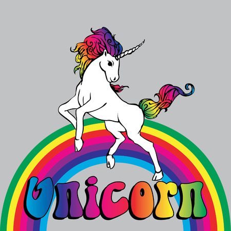 Unicorn with a rainbow Stock Illustratie