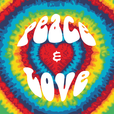 Peace and love with tie dye background