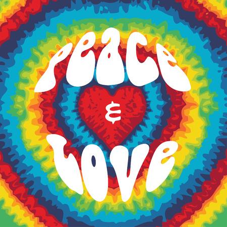 La paz y el amor con el fondo del teñido anudado
