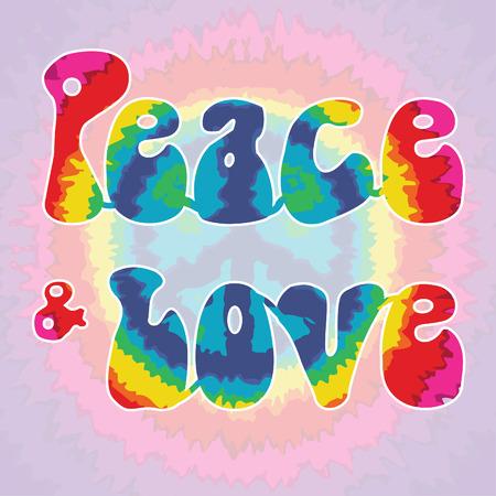 Peace and love tie dye pattern