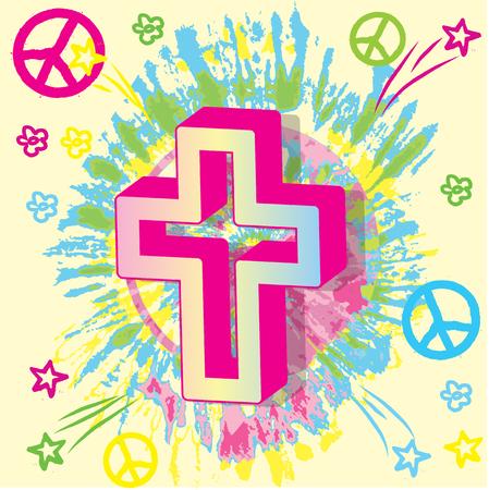 cristianismo: Cristianismo paz s�mbolos religiosos Vectores