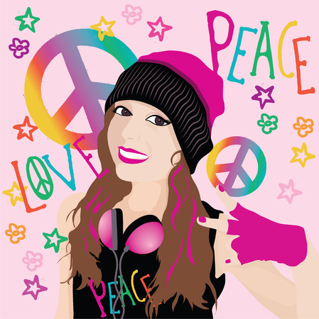 peace graphics: Peace and love girl