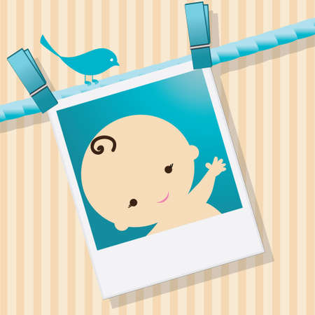 boy shower: Baby in a photo illustration