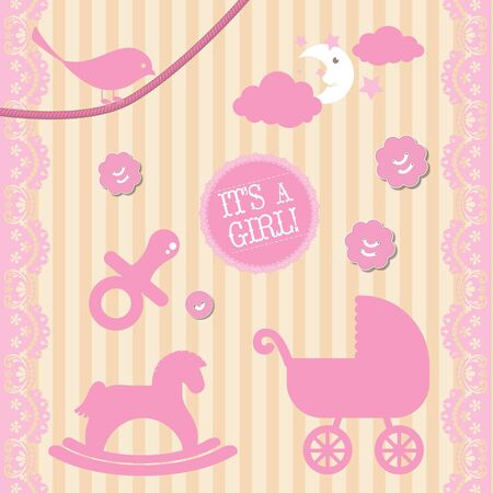 baby girl: Its a baby girl vector collection Illustration