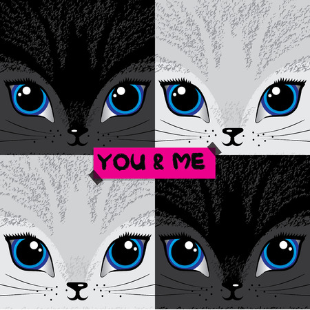 me: You and me cat illustrations Illustration