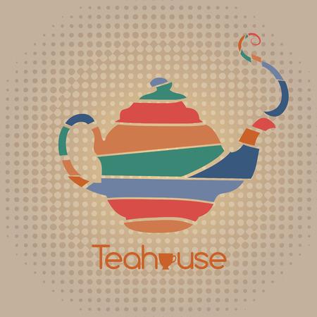 tea house: Pop art tea house illustration