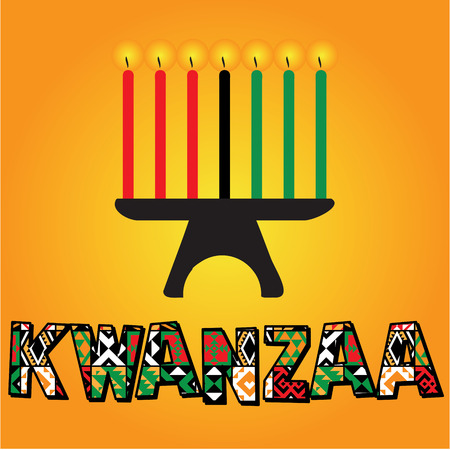 The seven kwanzaa candles illustration Stock Illustratie