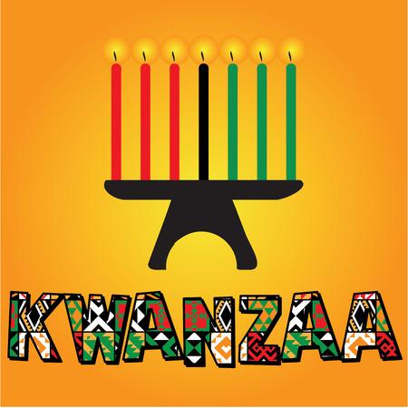 kwanzaa: The seven kwanzaa candles illustration Illustration