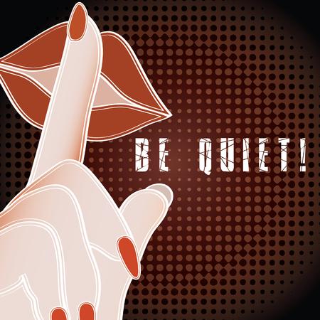 noiseless: Pop art be quiet sign Illustration