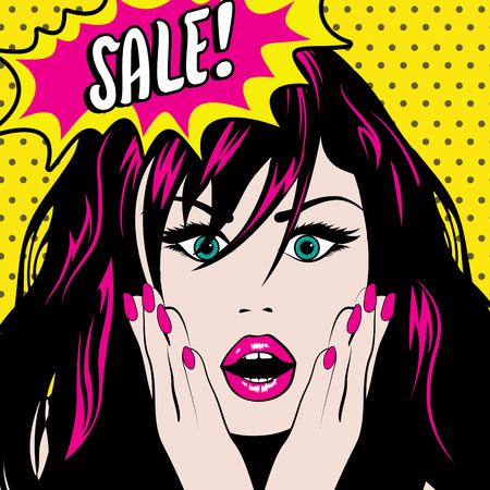 vector art: Pop art woman with sale speech bubble