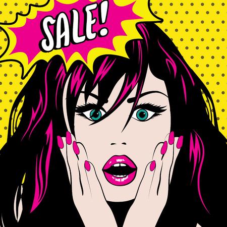 Pop art woman with sale speech bubble