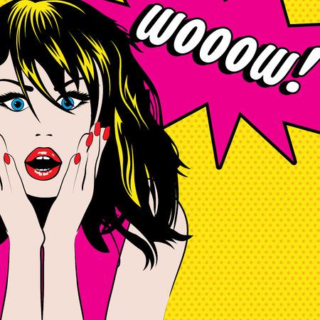 Pop-Art-Frau mit wow Sprechblase