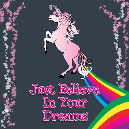 unicorn: Unicorn believe in your dreams vector Illustration