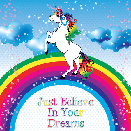 Unicorn believe in your dreams vector Çizim