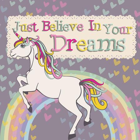 arcoiris caricatura: Unicornio creen en sus sueños vector