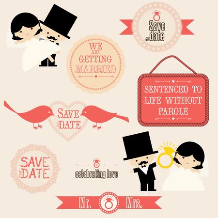 wedding couple: Wedding couple vector stickers